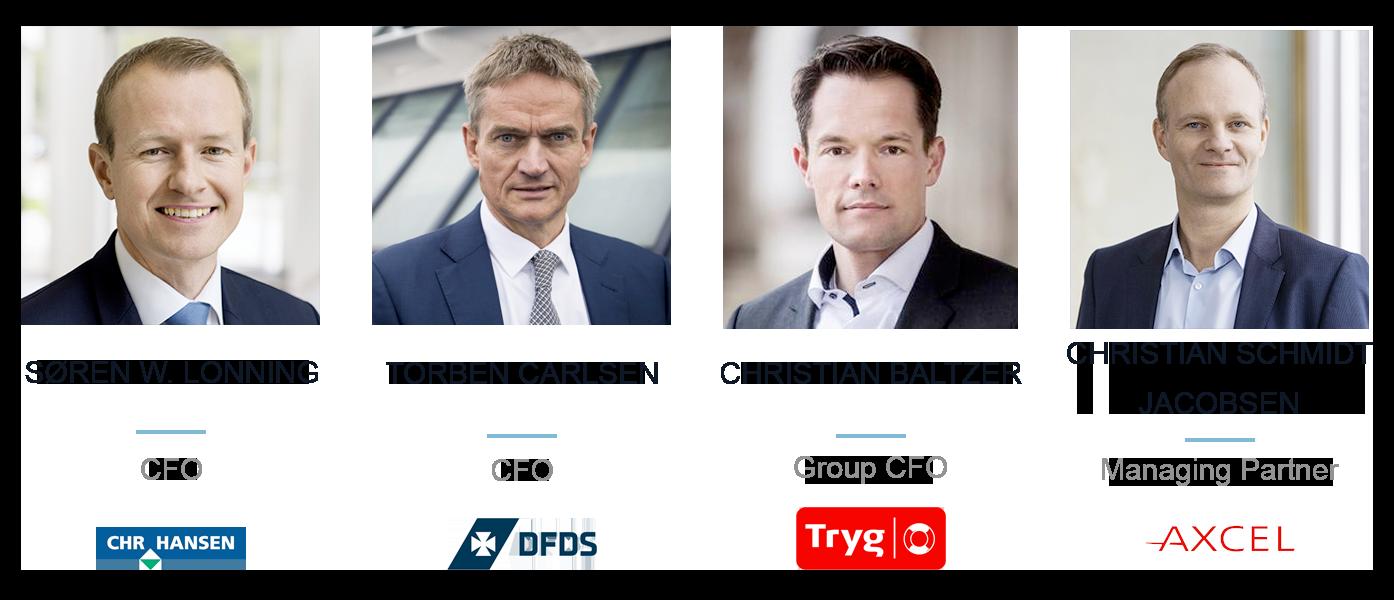 Søren Westh, CFO Chr Hansen; Torben Carlsen, CFO DFDS; Christian Baltzer, Group CFO Tryg; Christian Schmidt Jacobsen, Managing Partner Axcel