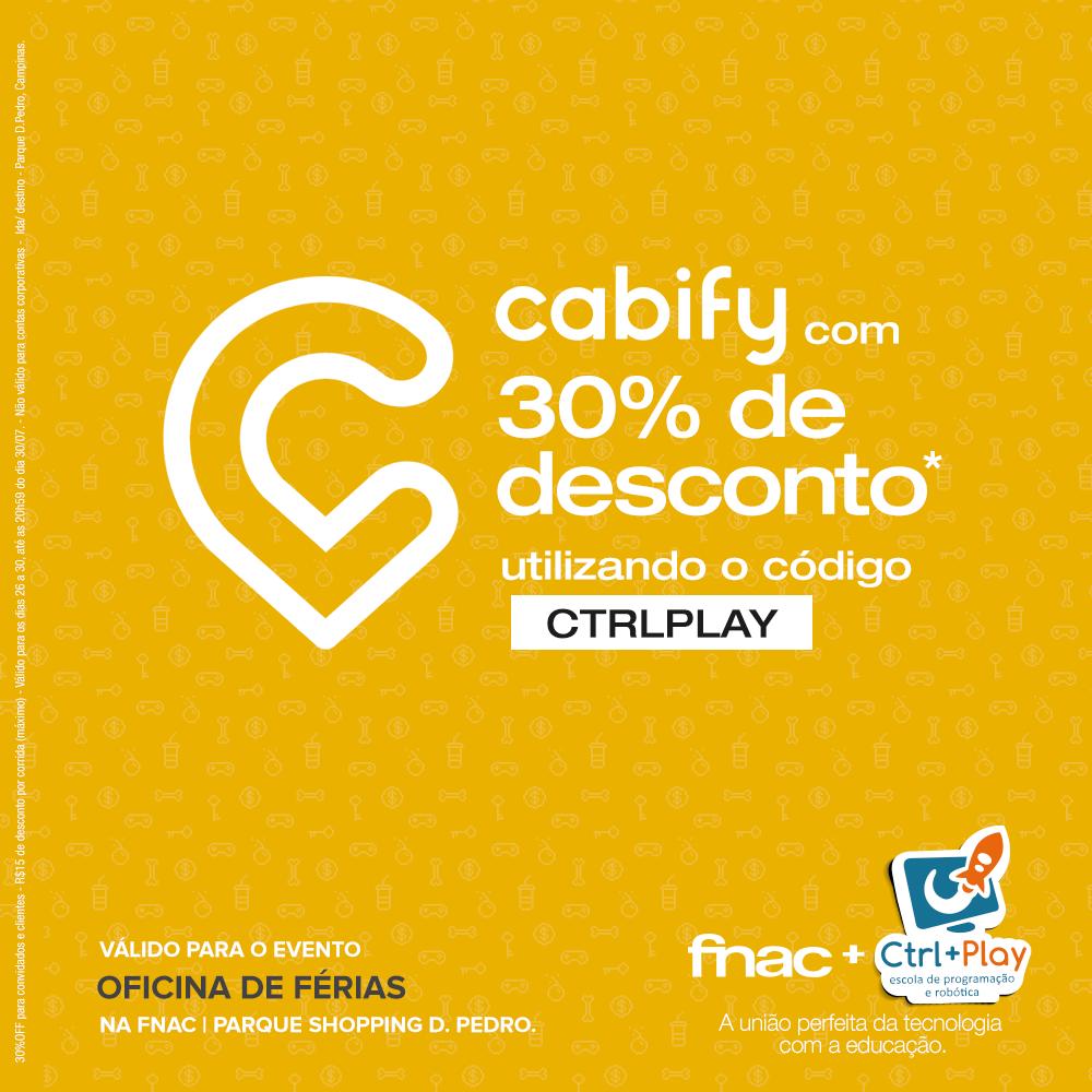 Ao se inscrever, você pode utilizar nosso código CTRLPLAY para chegar ao evento, usando Cabify! Legal né? Com o código você consegue 30% de desconto na corrida!