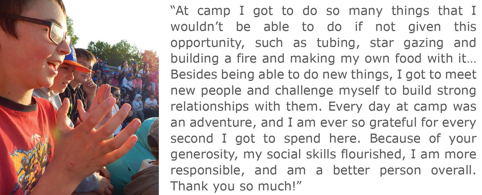 THCF camper at Camp Fire Area