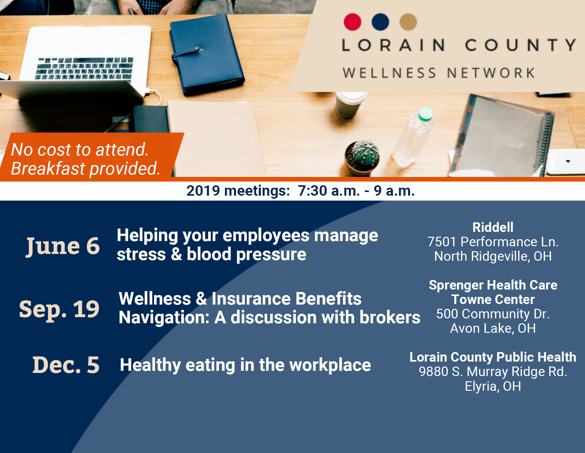Lorain County Wellness Network postcard with dates and locations of upcoming meetings