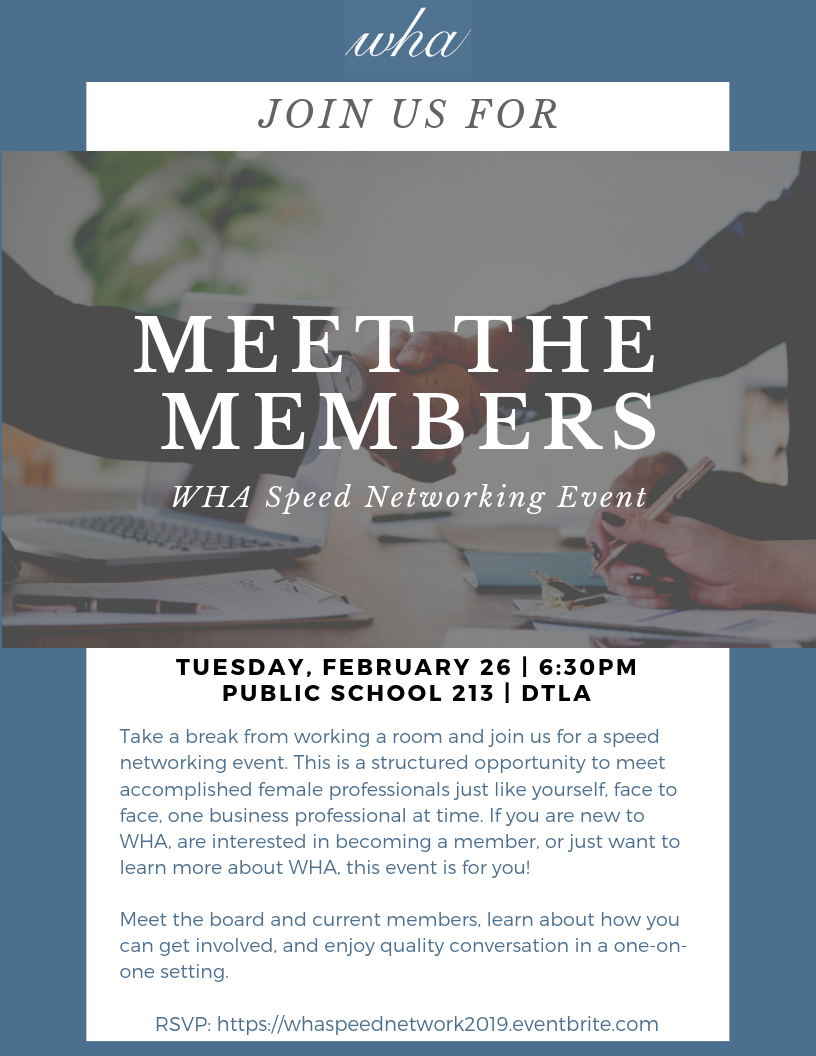 Flyer for Meet the Members Speed Networking Event