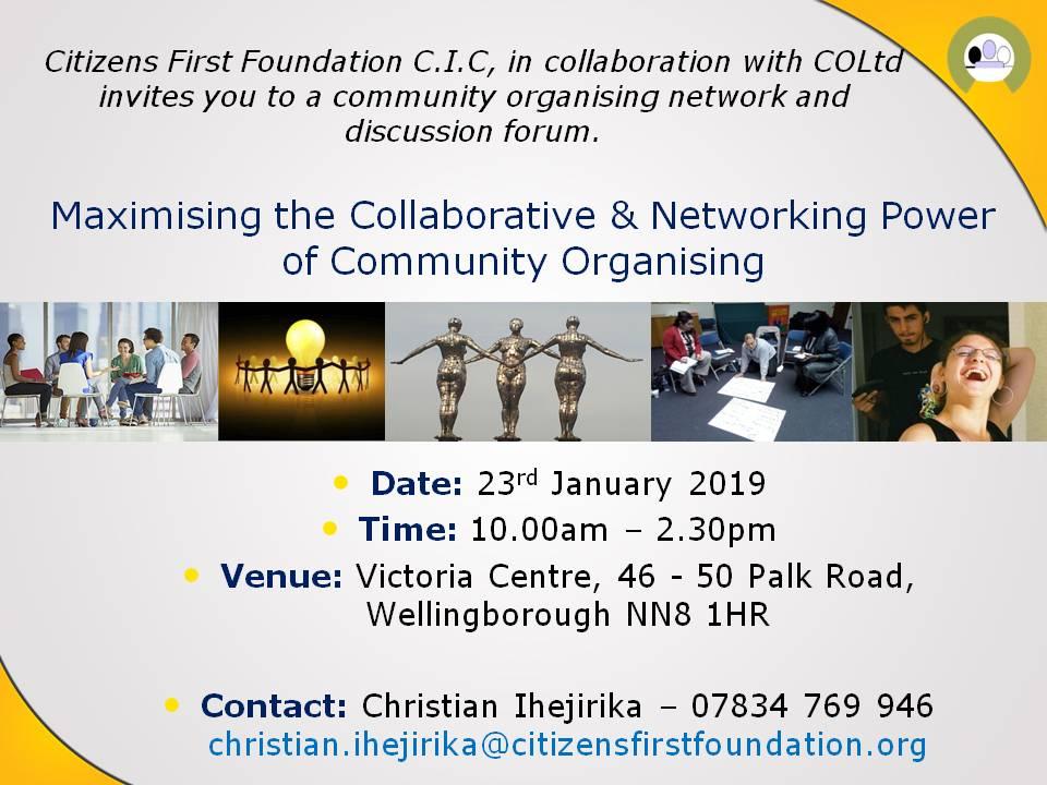 Exploring the future of community organising in Northamptonshire invitation.
