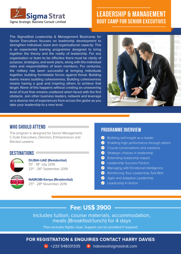 Leadership & Management Bootcamp for Senior Executives (Dubai- Residential)