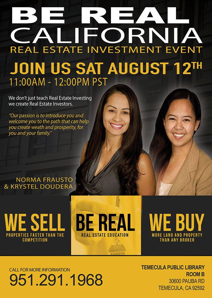 Real Estate Event Flyer Aug 12 @ 11AM-12PM