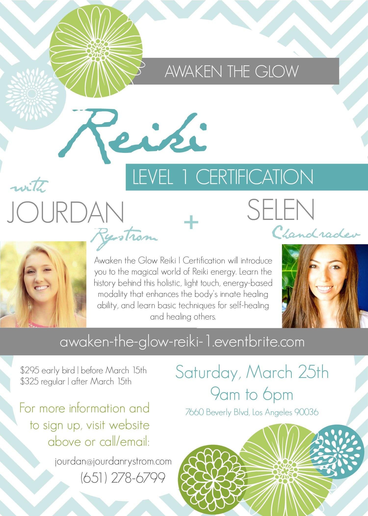 Awaken the Glow Reiki Level I Certification Poster