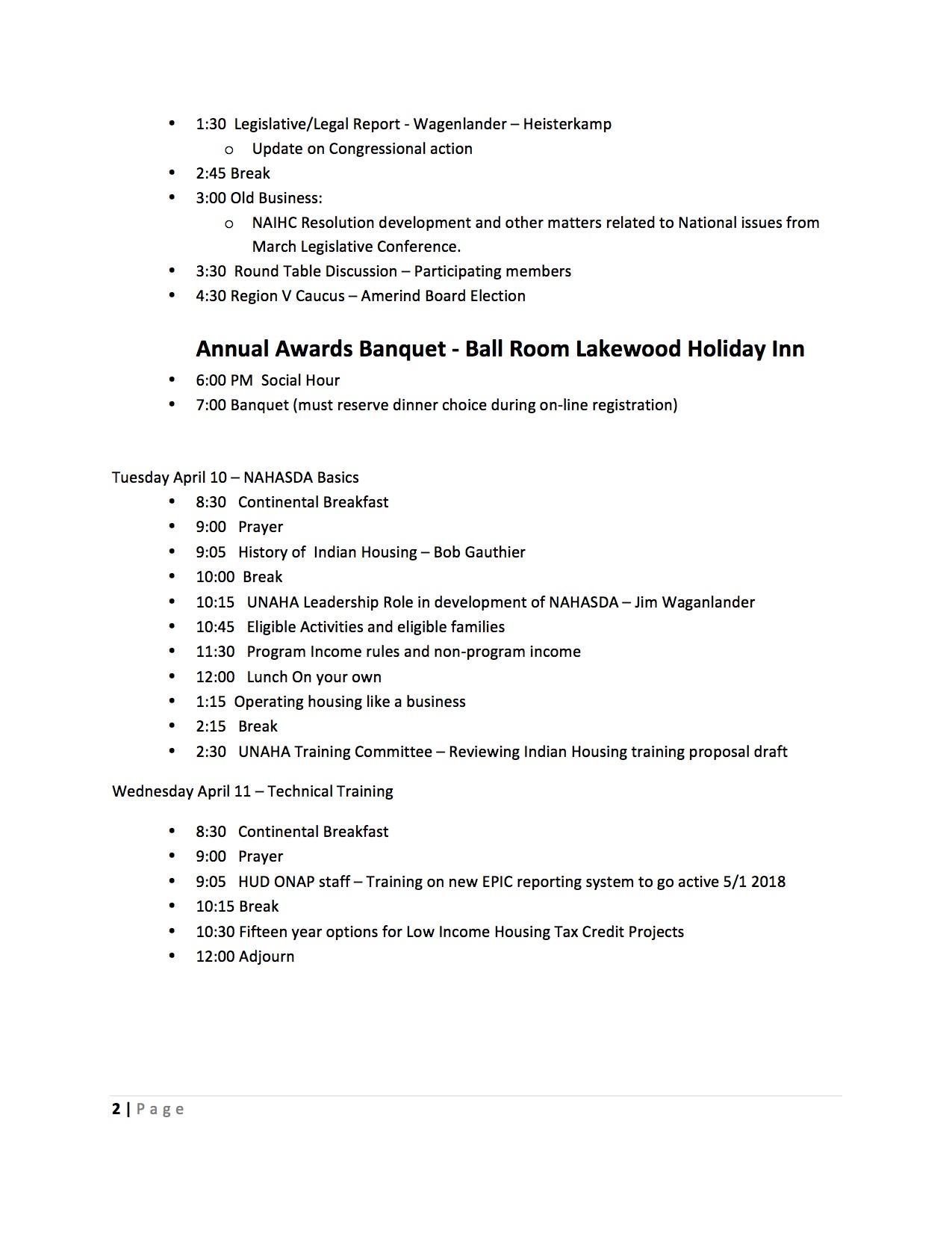 Page 2 Agenda
