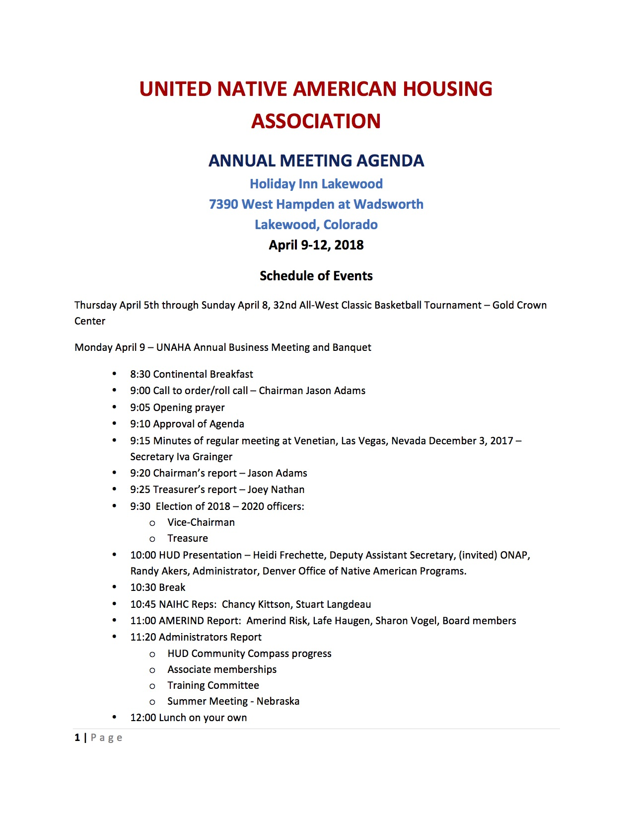 UNAHA Meeting Agenda