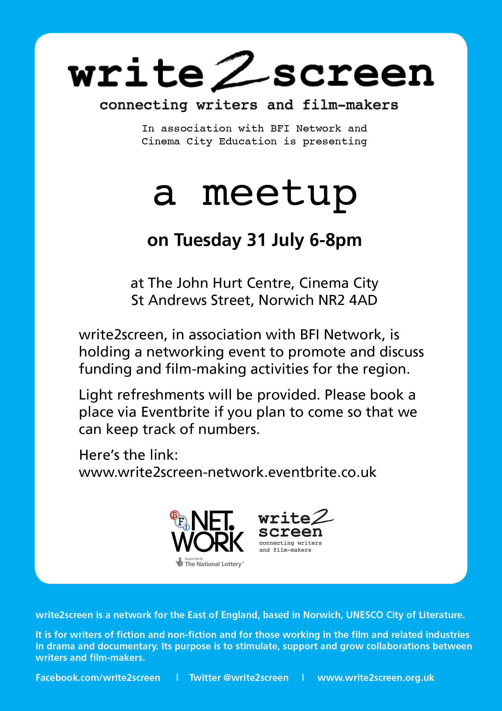 flyer promoting write2screen meetup