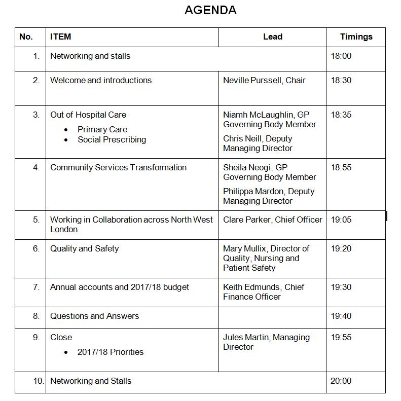 AGM agenda