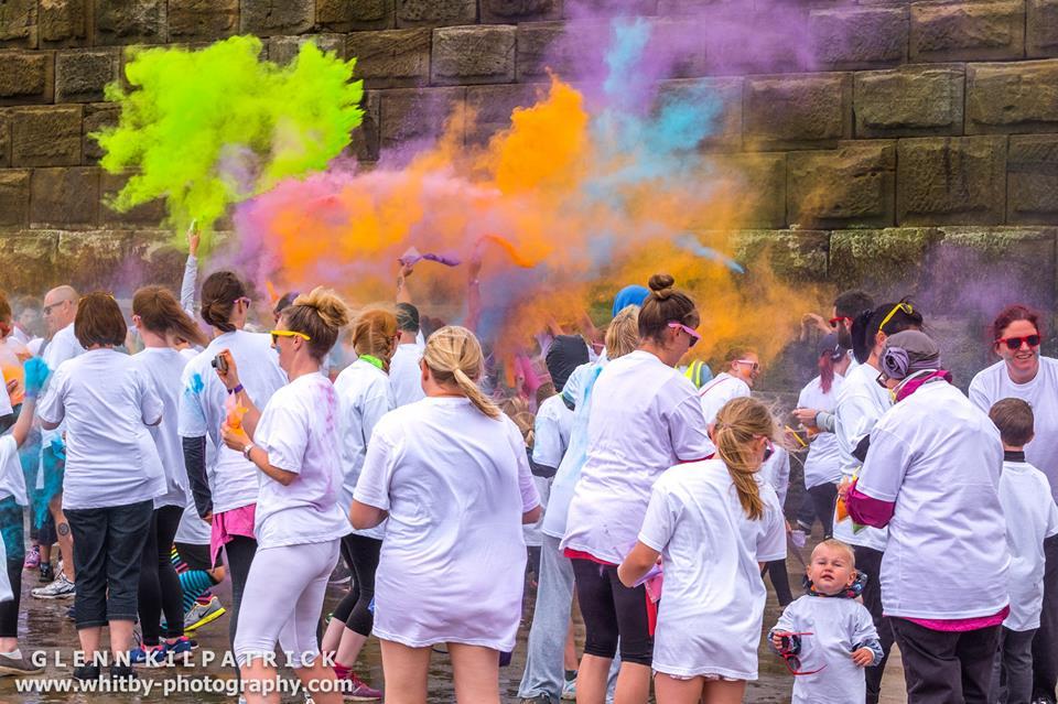 Coloured warm up at The Whitby Rainbow Colour Run