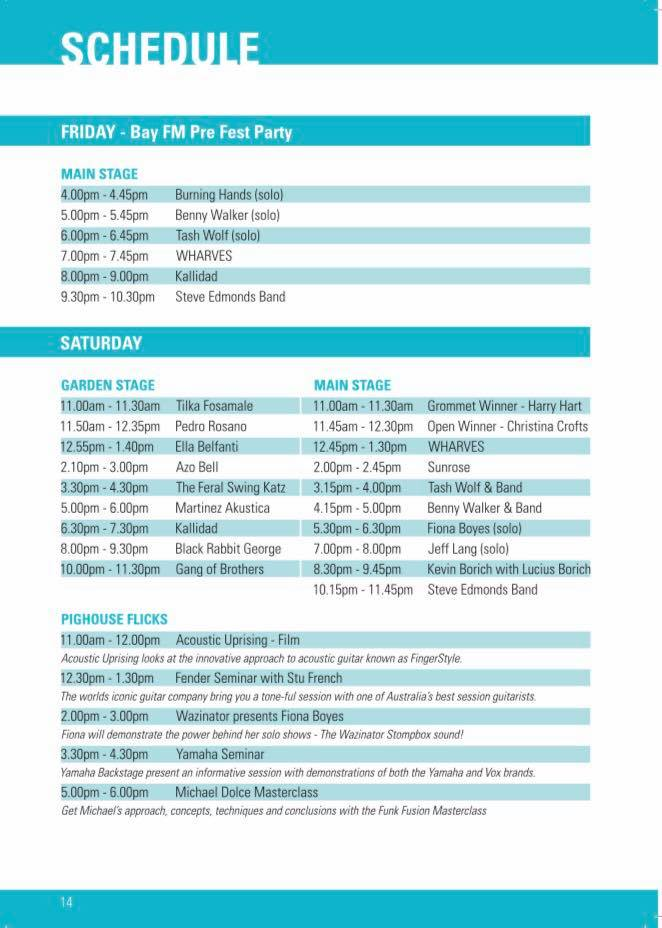 Byron Bay Guitar Festival 2017 | Playing Schedule | Fri 10 & Sat 11