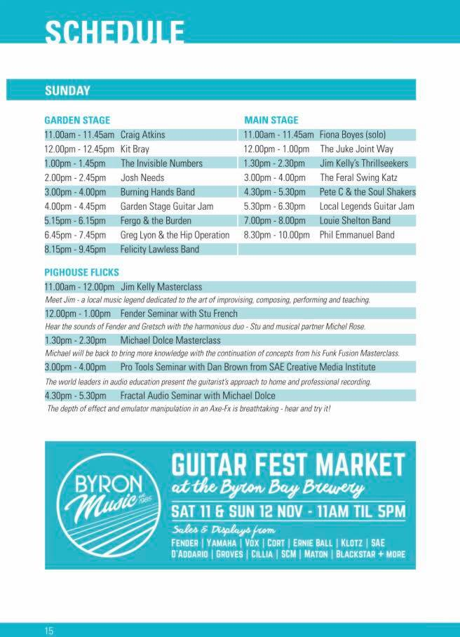 Byron Bay Guitar Festival 2017 | Schedule| Sunday