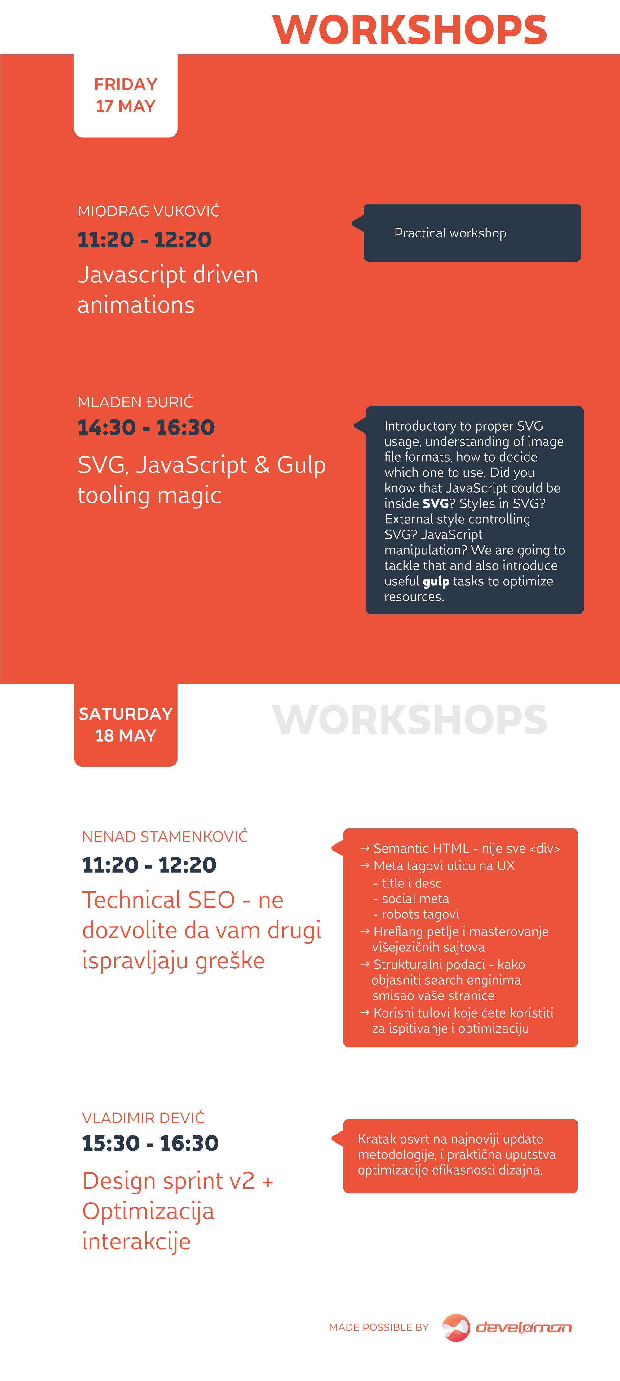 Frontend Re-United Niš Workshops Schedule