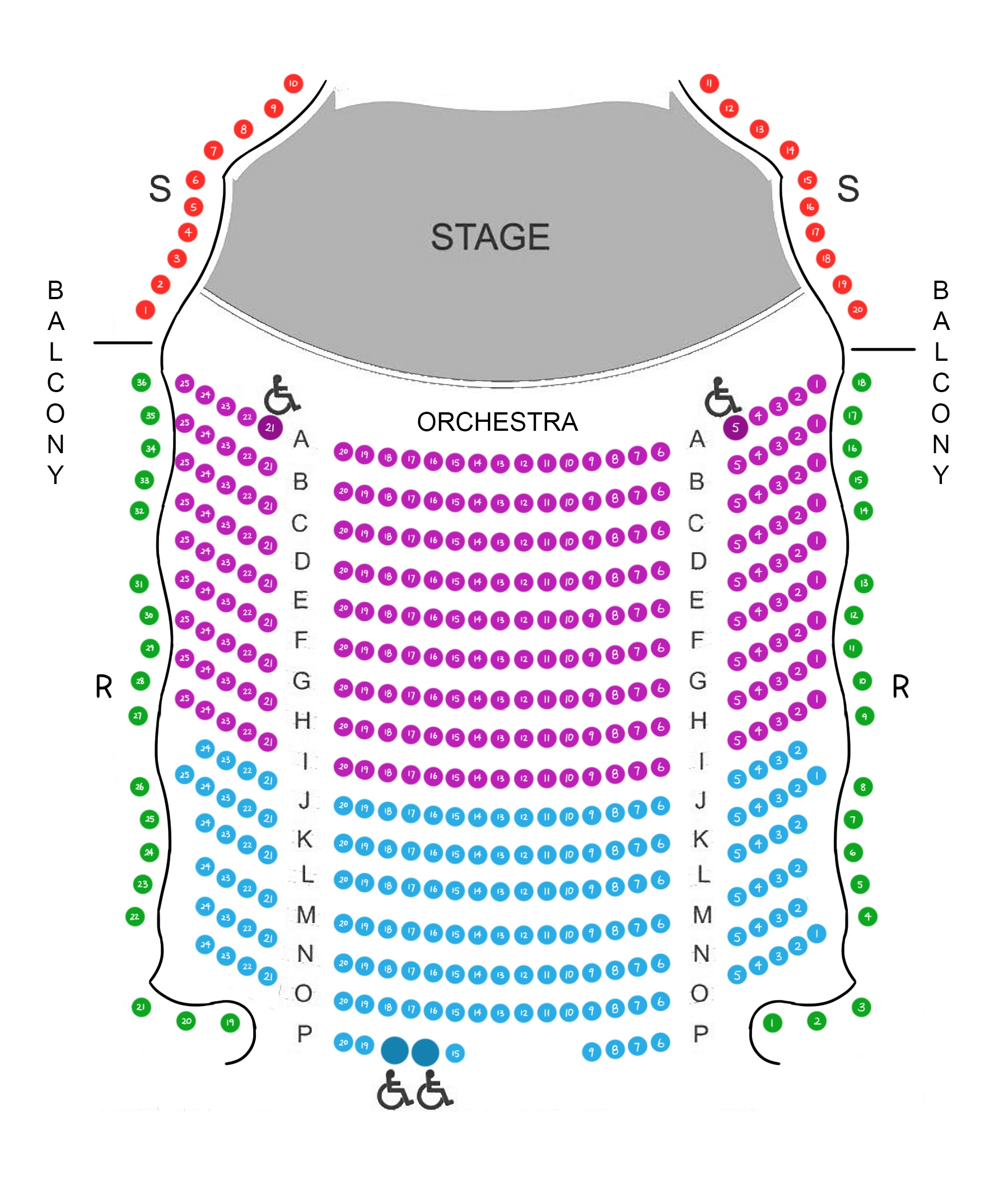 Zipper Hall Seating Map