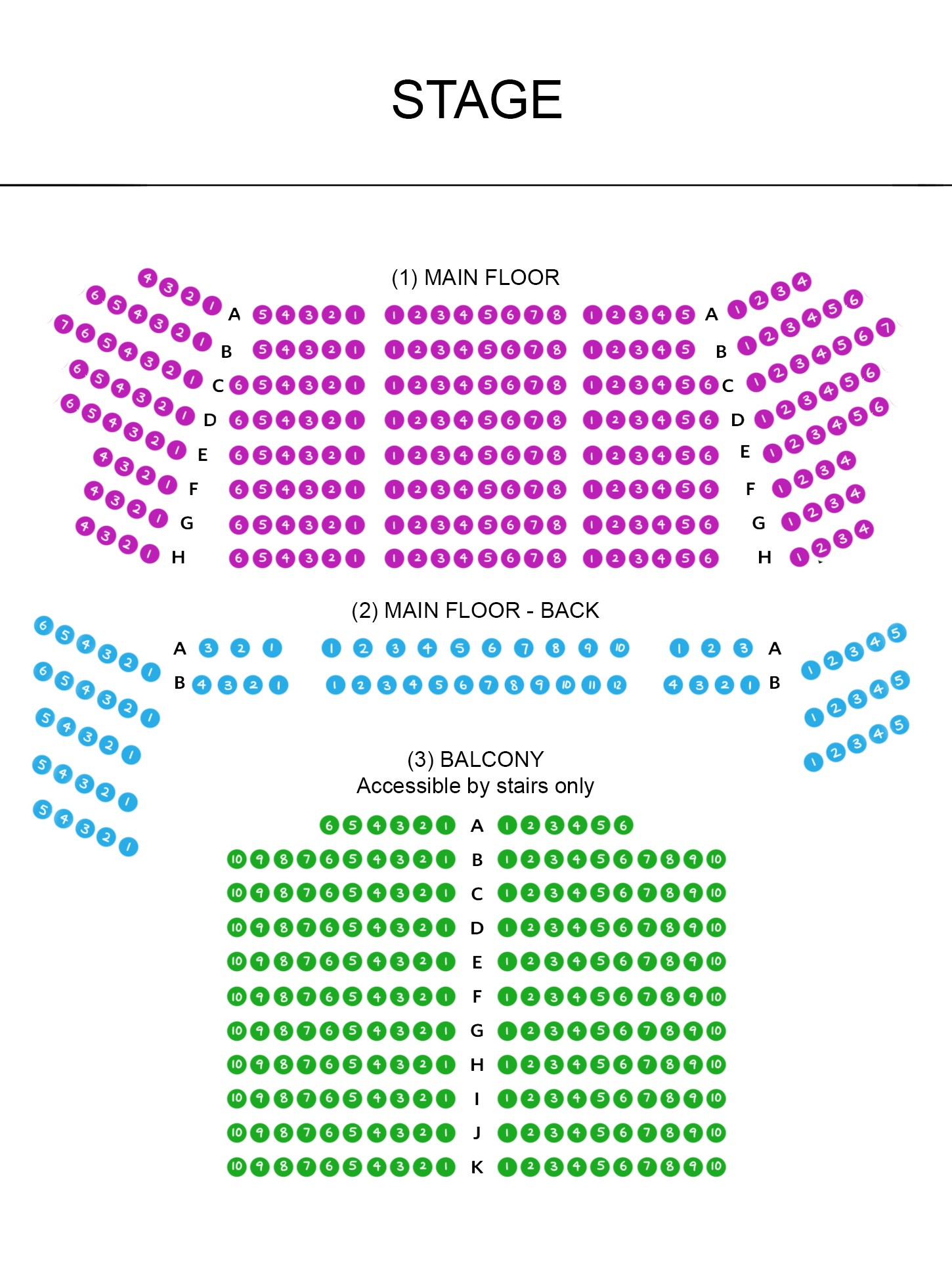Nichols Concert Hall Seating Map