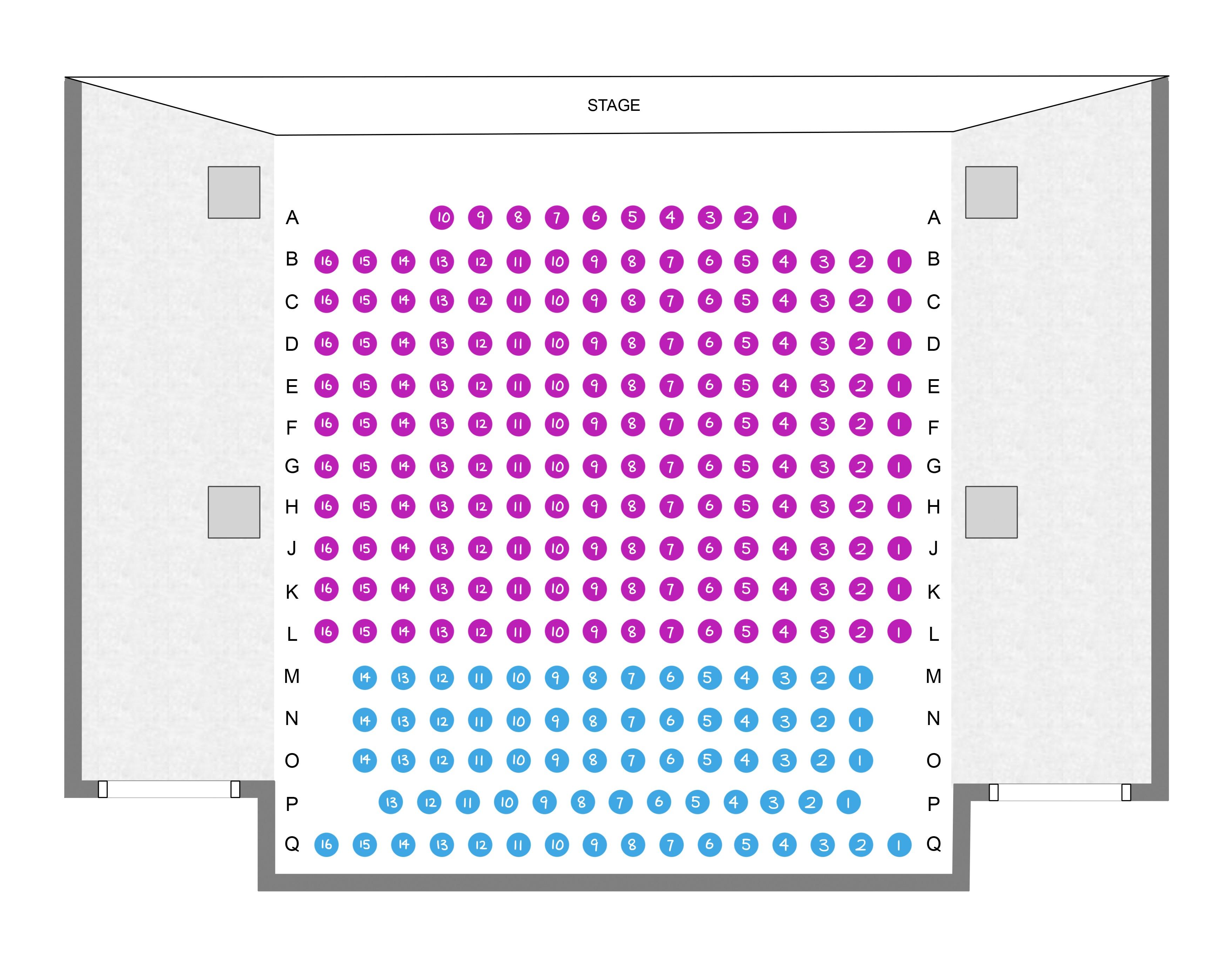 Koerner Recital Hall Seating Map