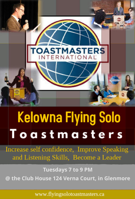 Kelowna Flying Solo Toastmasters Promotional Flyer