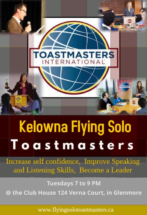 Kelowna Flying Solo Toastmasters Promotional Flyer