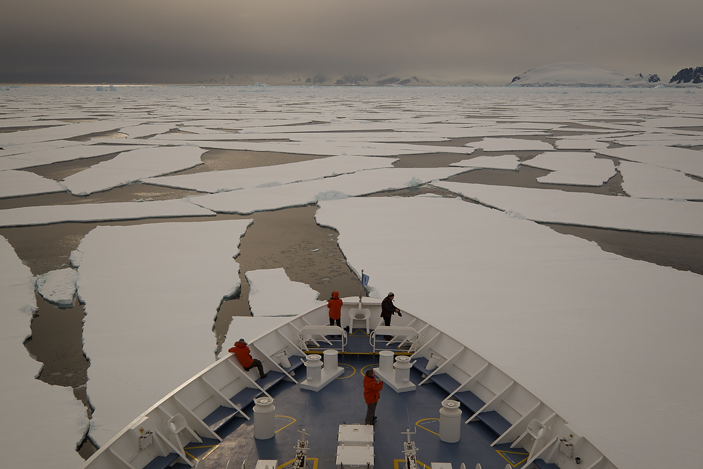 Sailing on ice water in Antarctica