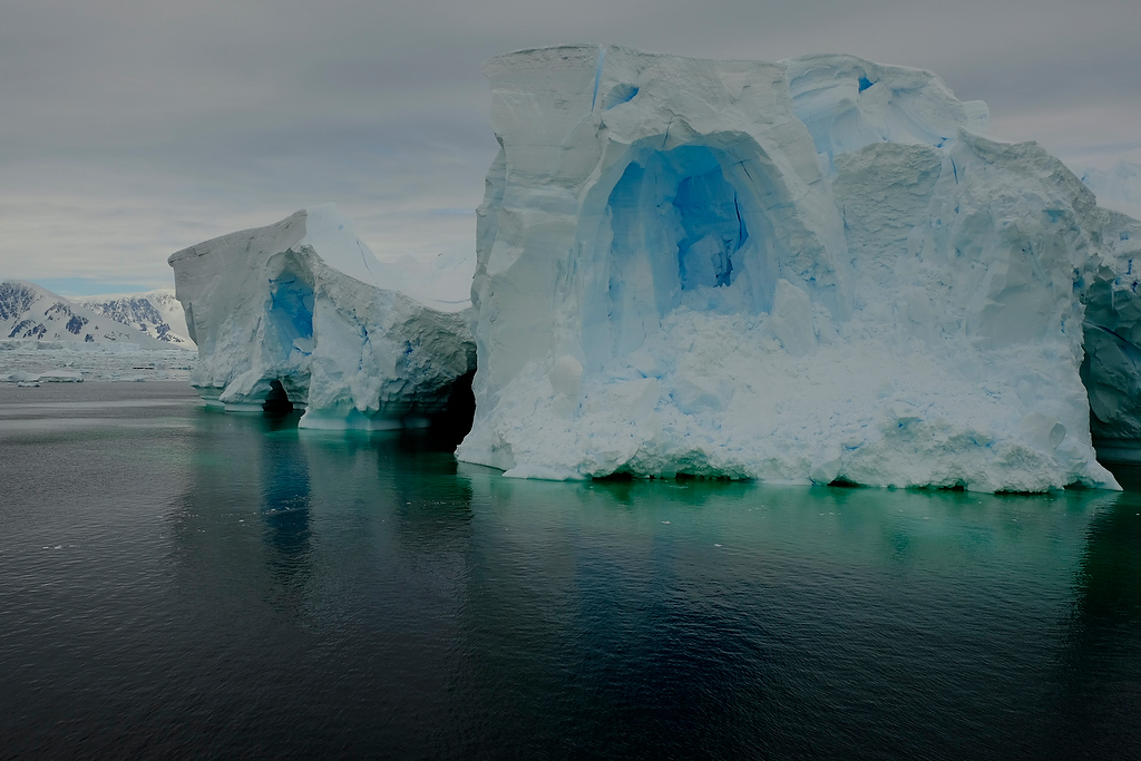 Iceberg with blue ice in Antarctica