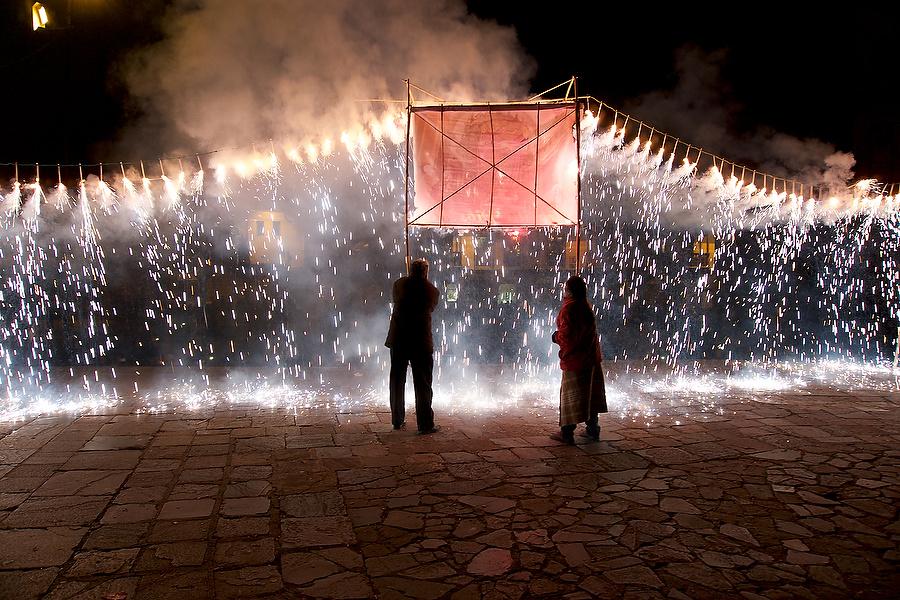 Fireworks in Cusco for Patron Saint fest, Peru