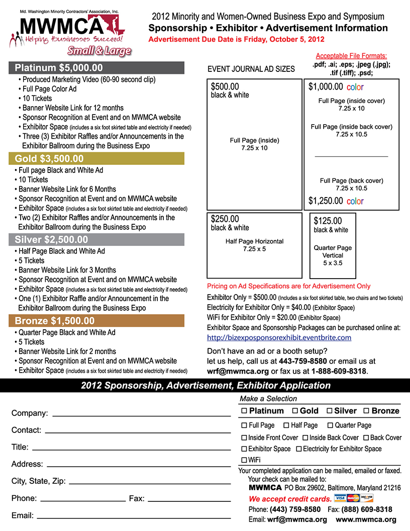 2012 Business Expo and Symposium Application