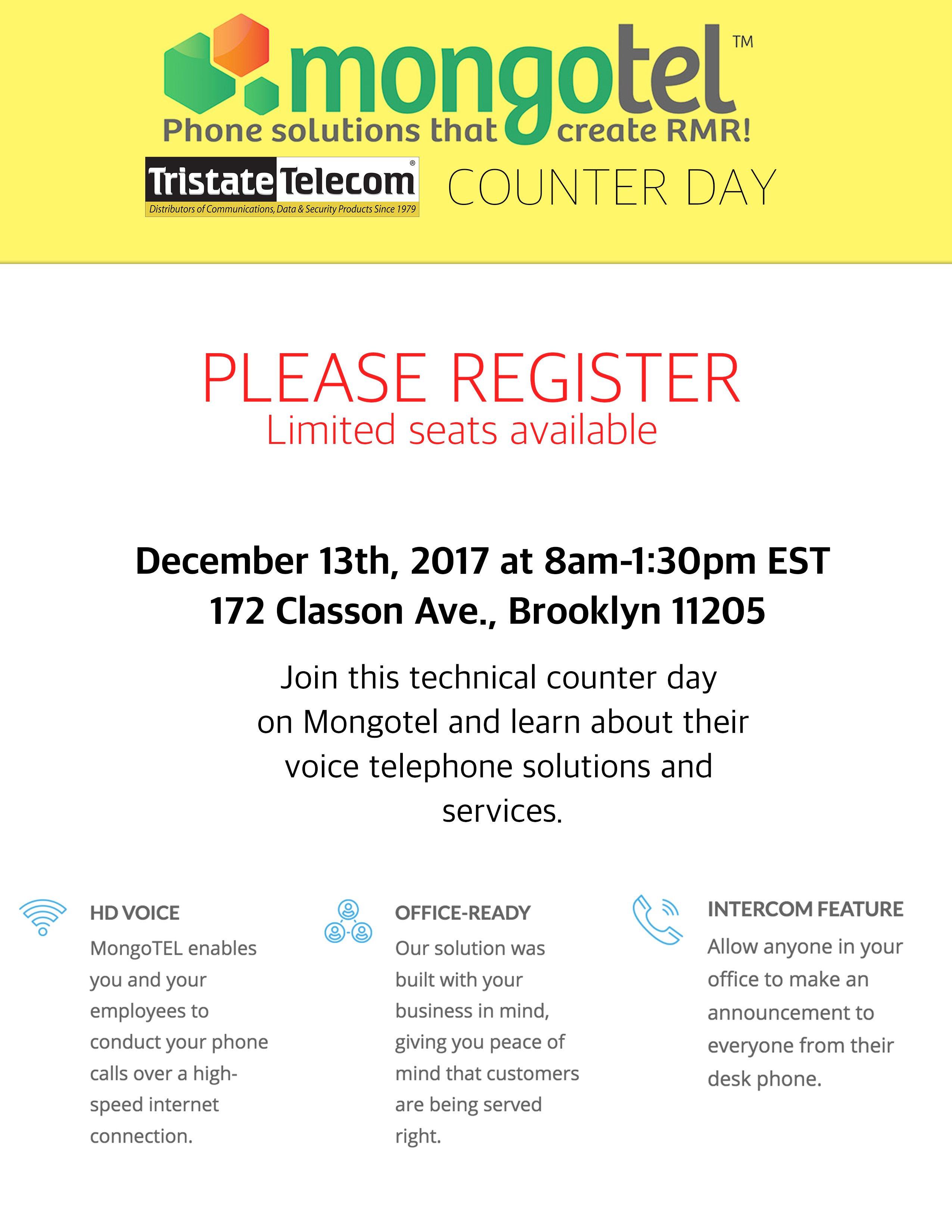 Mongotel Counter Day Brooklyn NY December th 8am 1pm