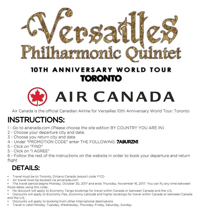 AIR CANADA VERSAILLES DISCOUNT