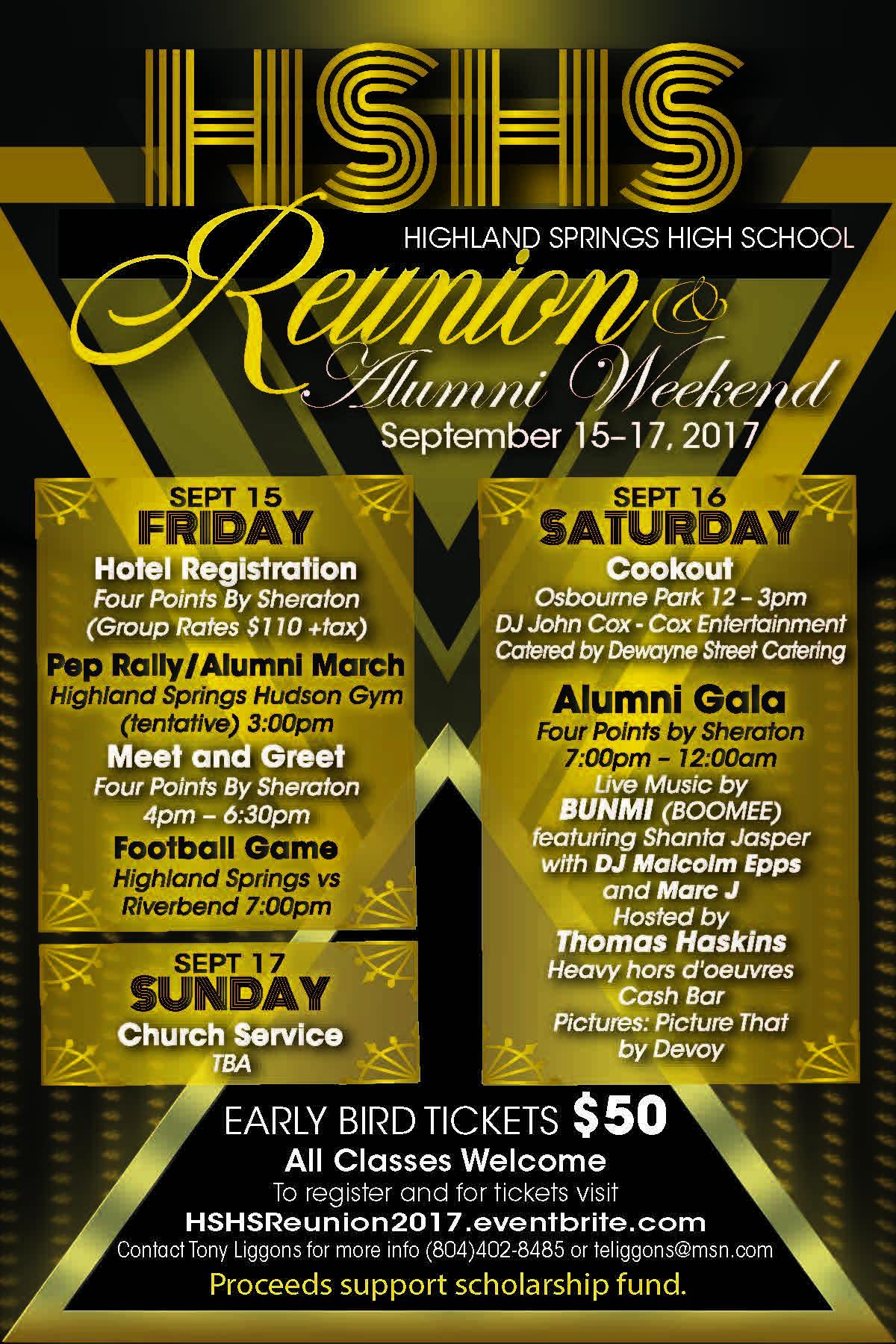 Highland Springs High School Reunion & Alumni Weekend Details
