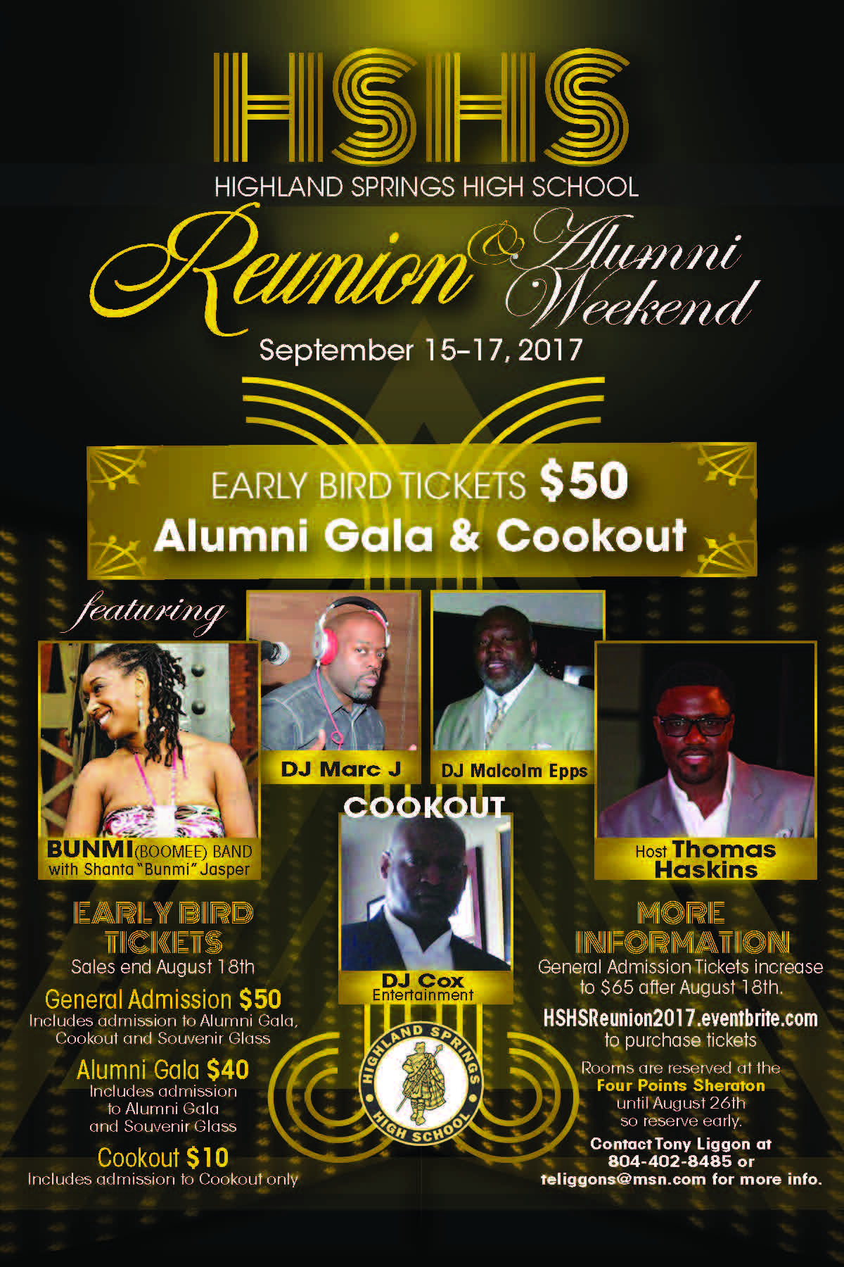 Highland Springs High School Reunion & Alumni Weekend Gala and Cookout details