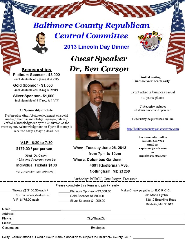 BCRCC Lincoln Day Dinner with Dr. Carson