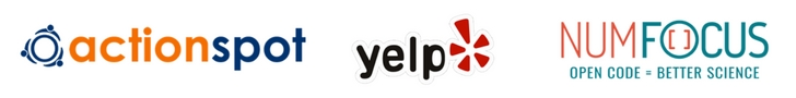 Action Spot, Yelp & NumFocus logos