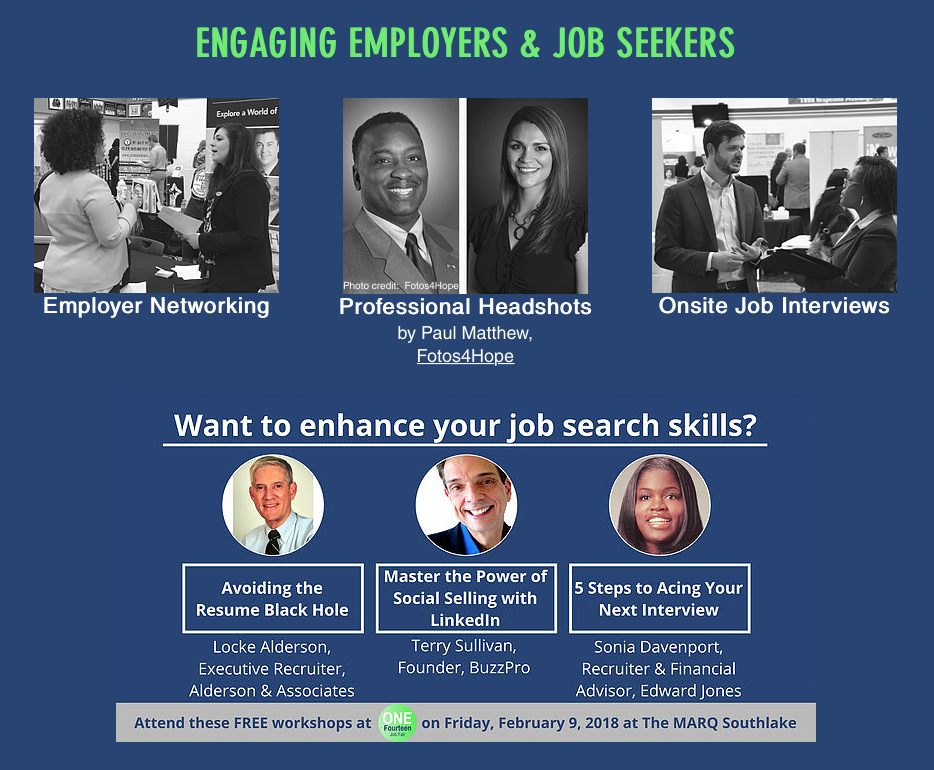 FREE workshops, FREE professional headshots and opportunities to network with hiring employers!