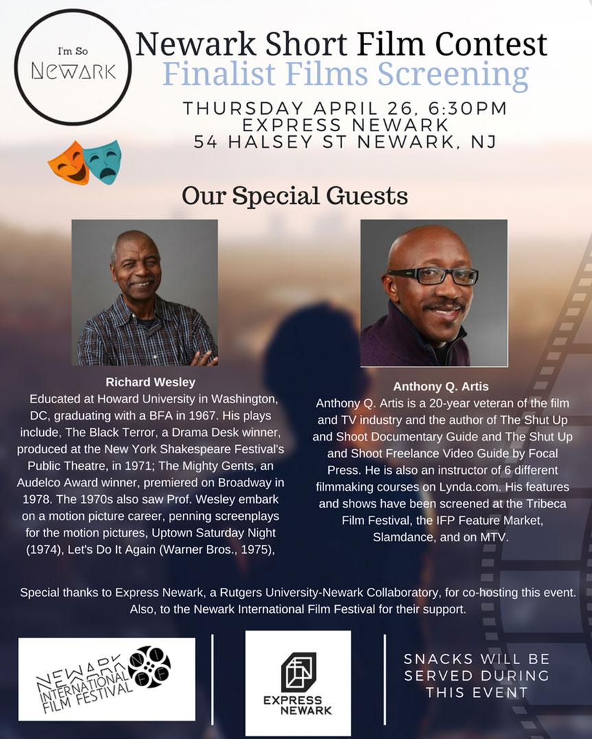 Flyer for the Newark Short Film Contest