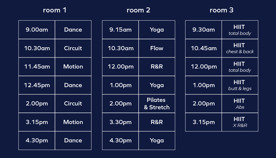 Babel Fitness Launch Workout Schedule