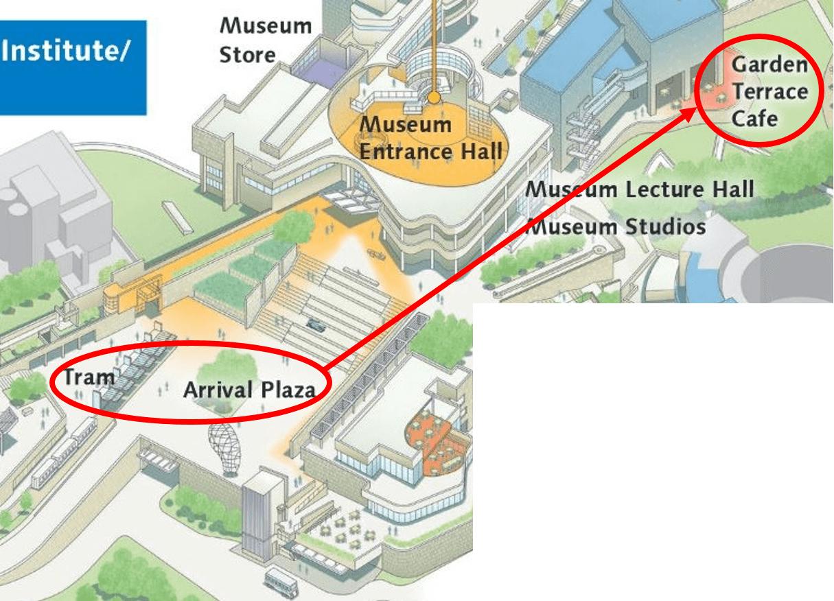 Getty Center Map to Garden Terrace Cafe