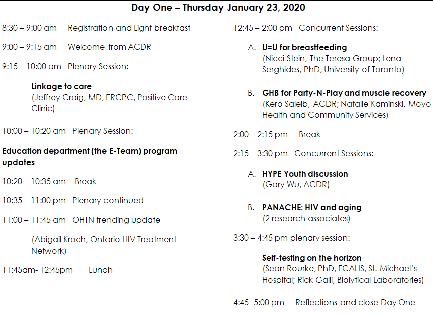 Conference schedule for day one