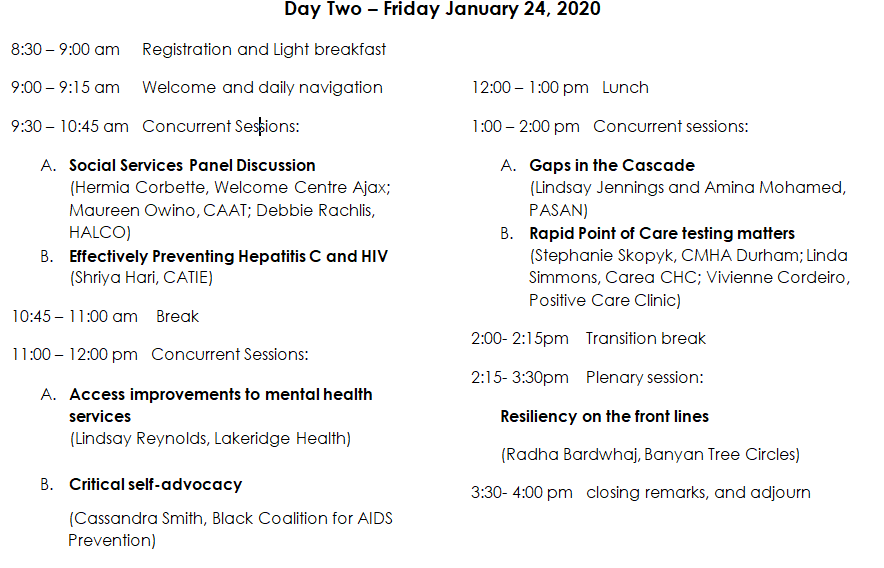 conference schedule for day two