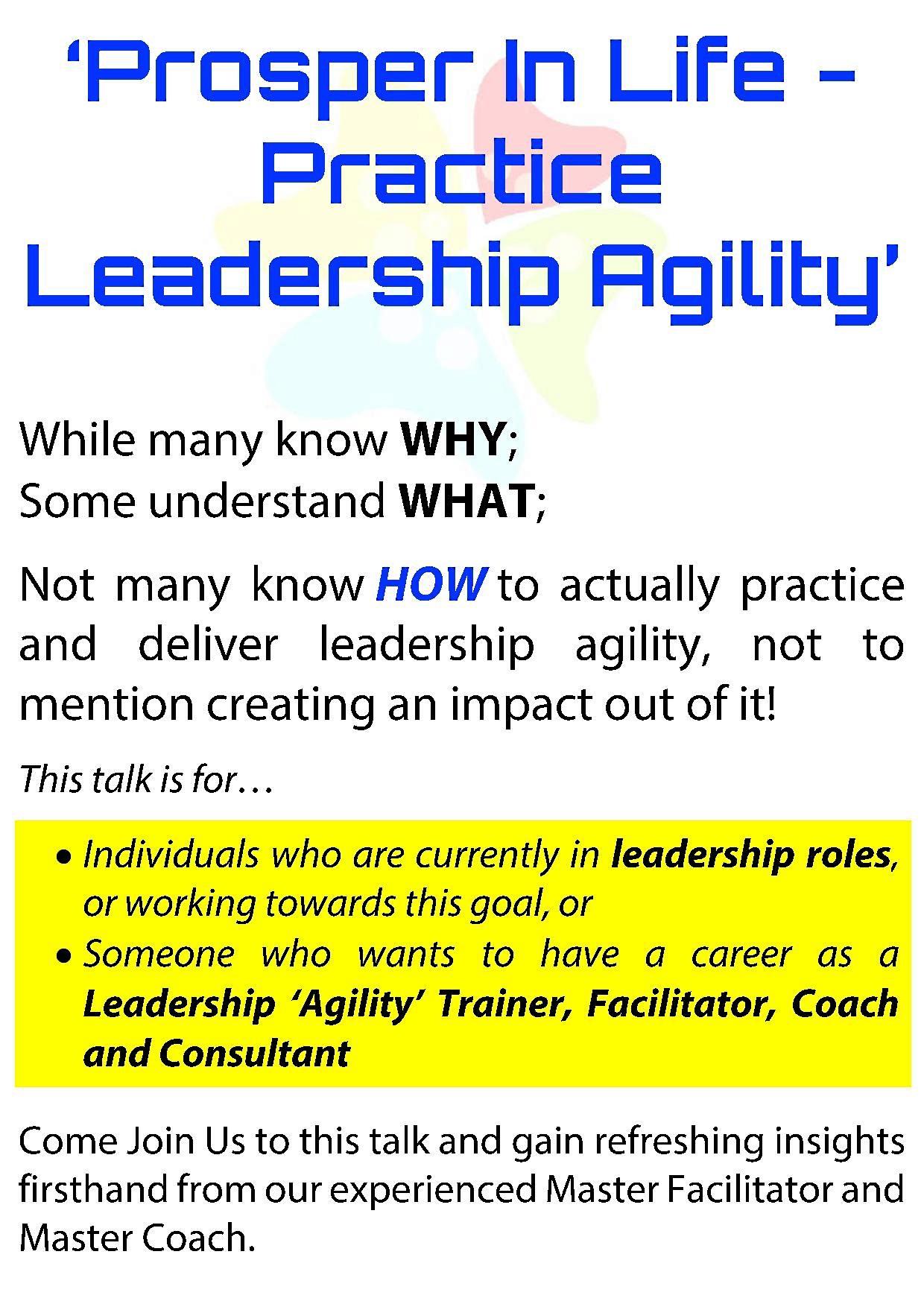 Mastering Leadership Agility - Prosper In Life - Practice Leadership Agility