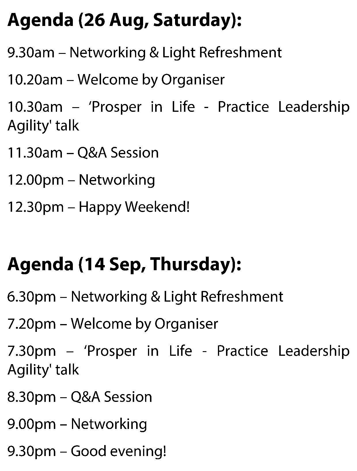 Mastering Leadership Agility - Agenda