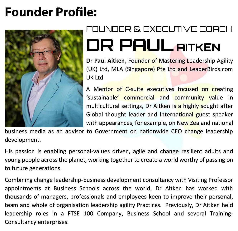 Mastering Leaddership Agility - Founder profile Dr Paul Aitken