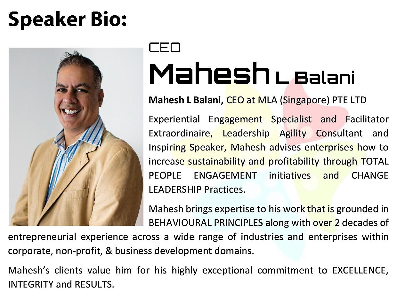 Mastering Leaddership Agility - Speaker bio Mahesh L Balani