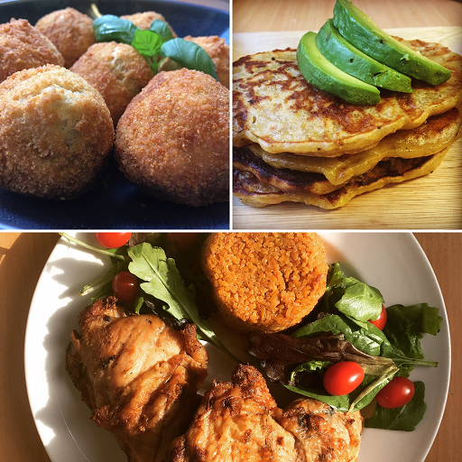 Yam balls, Plantain pancakes (Tatale), Jollof rice and chicken