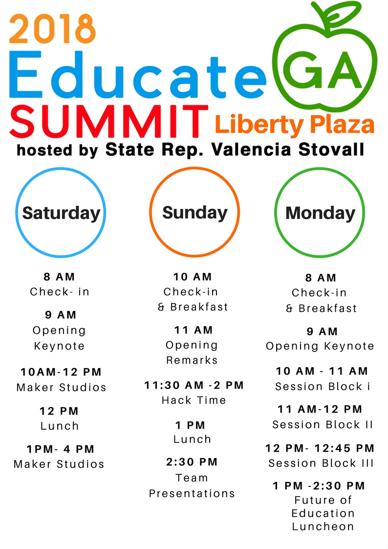 2018 Educate GA Summit itinerary