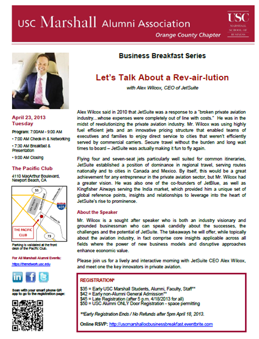 USC Marshall Business Breakfast with Alex Wilcox of JetSuite