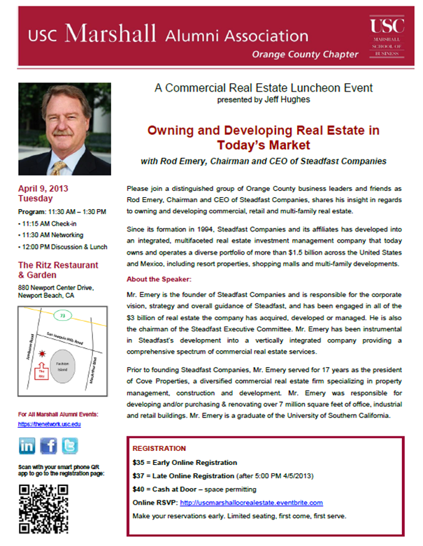 USC Commercial Real Estate Lunch with Rod Emery
