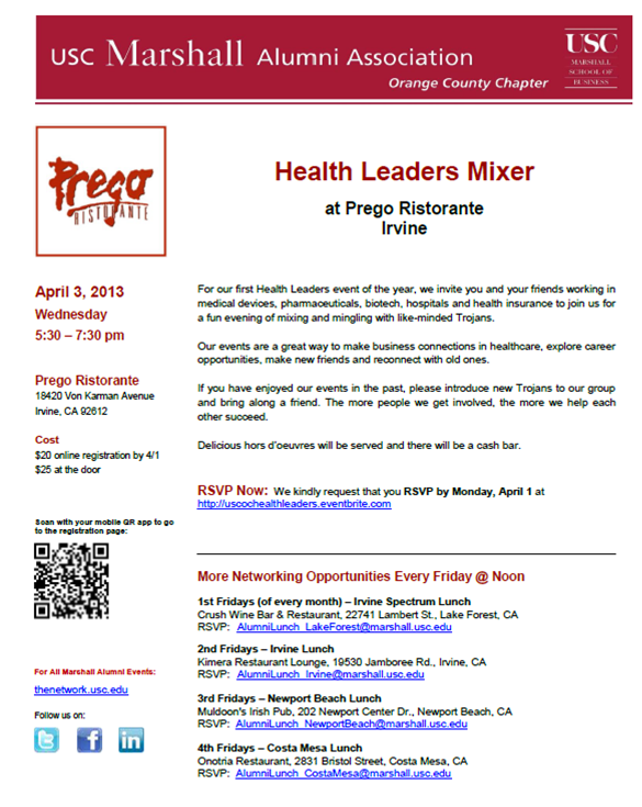 Health Leaders Mixer - April 3
