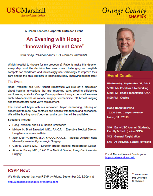 USC Marshall Alumni - An Evening with Hoag Hospital