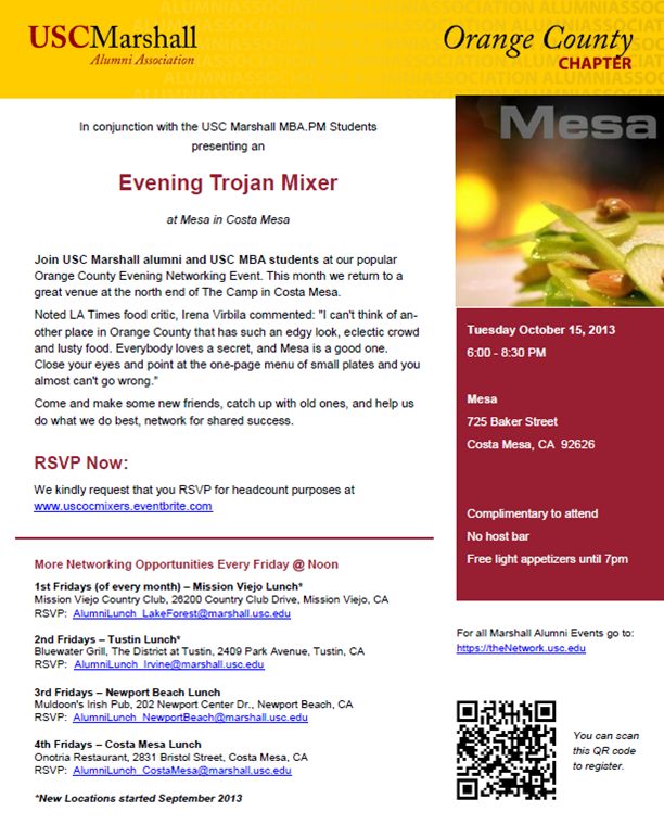 USC OC Mixer at Mesa in Costa Mesa