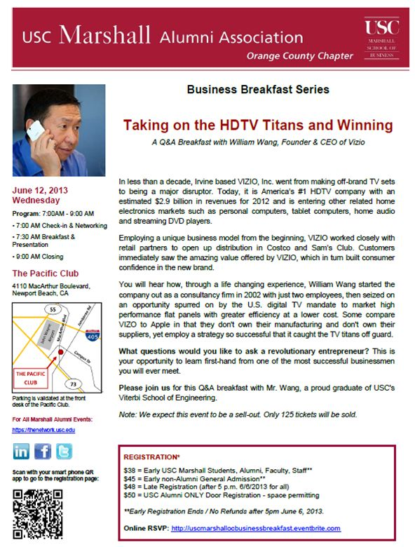 USC Business Breakfast with William Wang of VIZIO